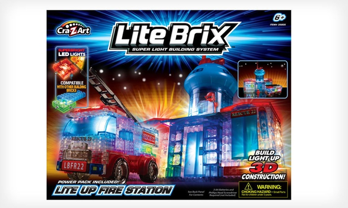 Cra-Z-Art Lite Brix Fire Station or Jet: Lite Brix Fire Station with Truck or Lite Brix Super Jet Fighter (Up to 41% Off). Free Shipping and Free Returns.