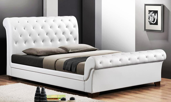 Queen Size Tufted Sleigh Bed Groupon Goods