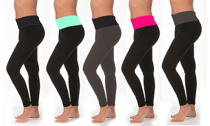 59d95e37da0bb Women's Fold-Over Waistband Leggings in L/XL (6-Pack) | Groupon