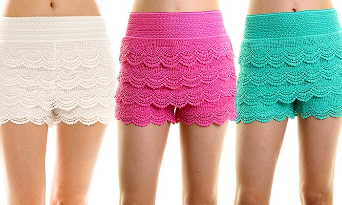 women's plus size lace crochet shorts | groupon