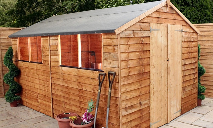 Delightful Groupon Goods Global GmbH: Overlap Apex Wooden Garden Shed In Choice Of  Size From ...