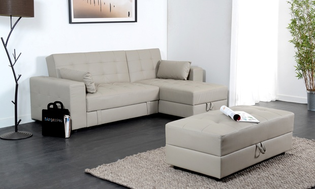 Divano letto con pouf groupon goods - Pouf per divano ...