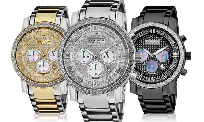 Akribos Men's Diamond Chronograph Watches: Akribos Men's Diamond Chronograph Watches