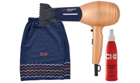 CHI Nautical Rocket Hair Dryer, Hair Spray, and Beach Towel Set (3-Piece)