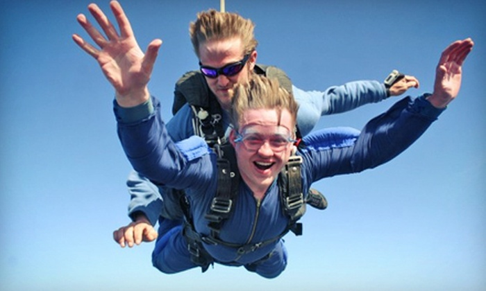 Skydive Boston Cape Cod - Marstons Mills: $145 for a Tandem Skydive for One on a Weekday or Weekend at Skydive Boston Cape Cod (Up to $239 Value)