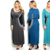 Women's Long-Sleeved Colorblock Maxi Dress Available in Plus Sizes
