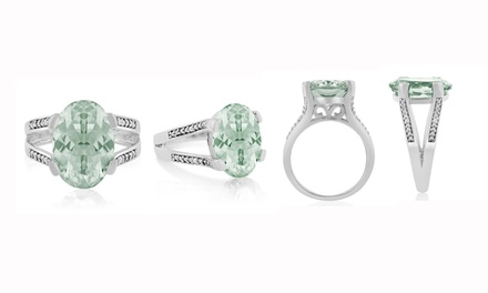 5.50 CTTW Genuine Green Amethyst and Diamond Ring in Sterling Silver
