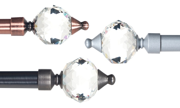 Curtains Ideas curtain rod glass finials : Lavish Home Curtain Rod with Cone Glass Finials | Groupon