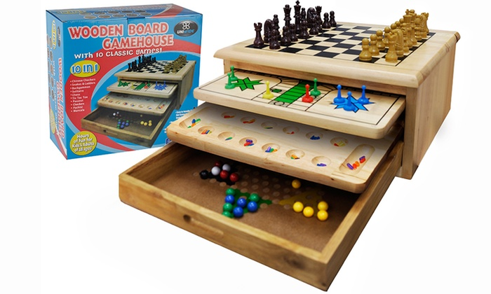 Wooden board game house groupon goods for 10 in 1 games table australia