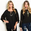 Women's Black Holiday Blouses