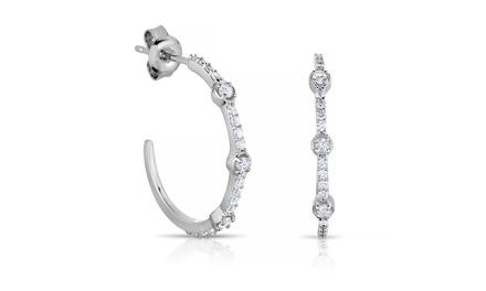 3/8 CTTW Diamond Hoop Earrings in Sterling Silver