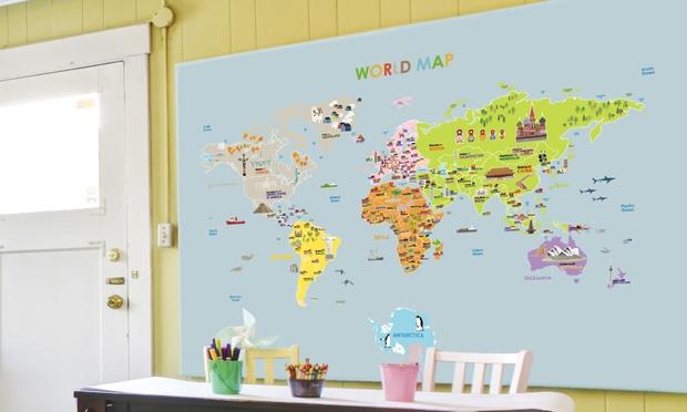 sticker carte du monde groupon shopping. Black Bedroom Furniture Sets. Home Design Ideas