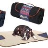 Denim Travel Pet Mat Blanket with Fur Interior