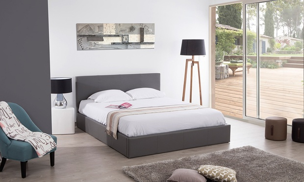 lit coffre simili cuir groupon shopping. Black Bedroom Furniture Sets. Home Design Ideas