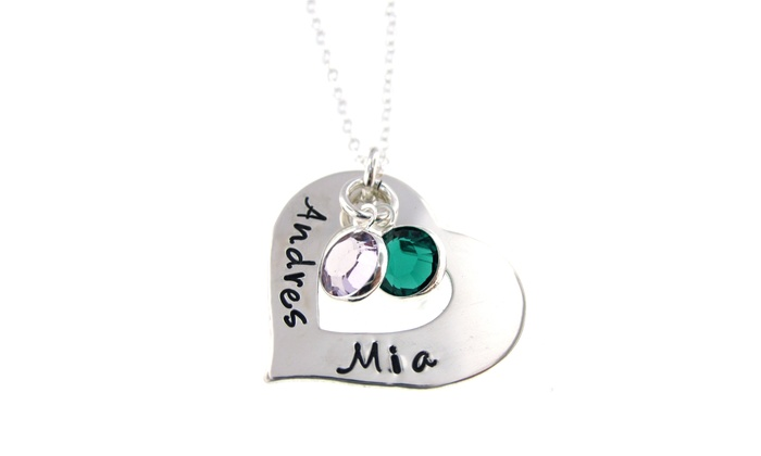 Hannah Design: Personalized Heart and Birthstone Necklaces with Swarovski Elements by Hannah Design