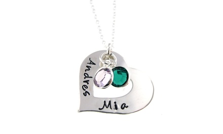 Personalized Heart and Birthstone Necklaces with Swarovski Elements by Hannah Design