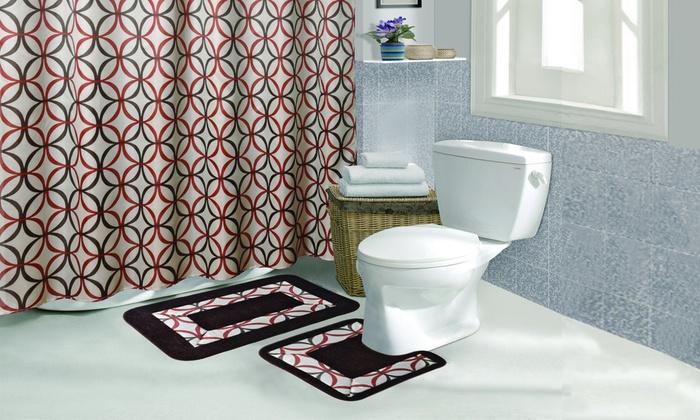 Beau Phoebe 15 Piece Bathroom Set With Two Bath Mats: Phoebe 15 Piece Bathroom