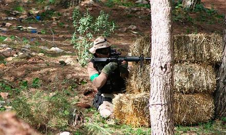 Partida de airsoft para uno o diez con protecciones, réplica y munición