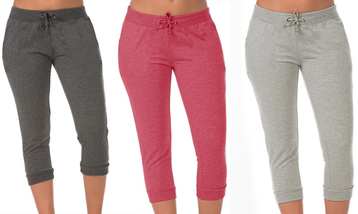 Coco Limon 3-Pack of Women's Jogger Capris (Size Large) | Groupon