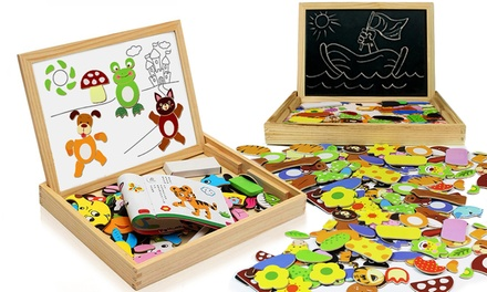 One or Two Children's Wooden Animal Puzzle and Drawing Board Sets