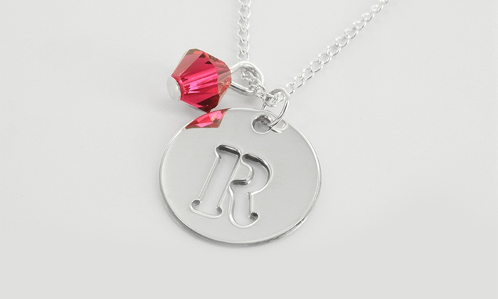 bf1a17960d444 Initial Necklace with Swarovski Elements Charm from Monogram Online