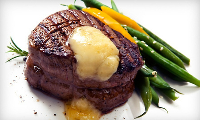 Black and Blue Seafood Chophouse - Huntington: Seafood-Chophouse Dinner with Appetizers and Drinks for Two or Four at Black and Blue Seafood Chophouse (Up to 57% Off)