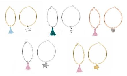 Orecchini placcati oro con o senza cristalli Swarovski® disponibili in vari colori