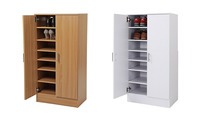 Armoire range chaussures groupon shopping - Range chaussures bois ...