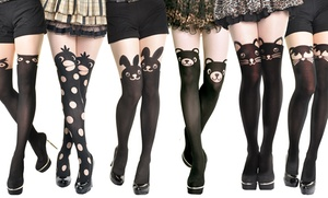 2-pack Of Angelina Animal Faux Thigh-high Pantyhose