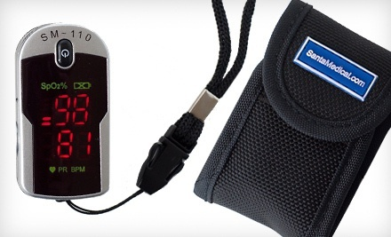 Fingertip Pulse Rate Oximeter with Case and Neck/Wrist Cord.
