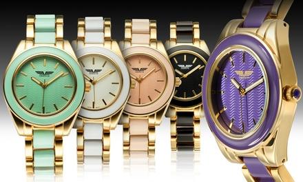 Deporte Kemora Women's Enamel Bezel and Link Watches