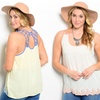 Women's Plus-Size Summer Tank with Floral Embroidered Hem