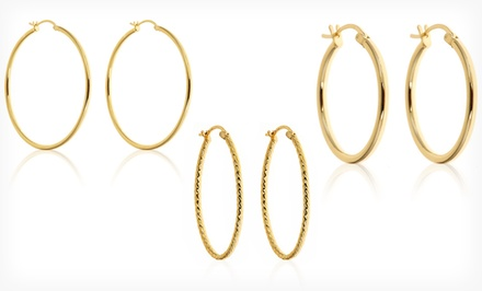 groupon daily deal - 18K Gold-Plated Sterling Silver Hoop Earrings. Multiple Options Available from $13.99–$19.99. Free Returns.
