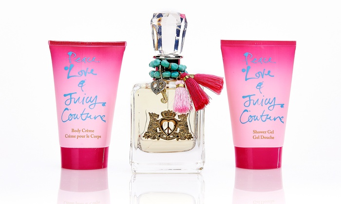 Peace, Love & Juicy Couture Fragrance Spray Gift Set: Peace, Love & Juicy Couture Fragrance Spray Gift Set with Eau de Parfum, Lotion, and Shower Gel