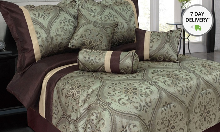 7-Piece Jacquard Bedding Sets: 7-Piece King and Queen Jacquard Bedding Sets. Multiple Styles Available. Free Returns.