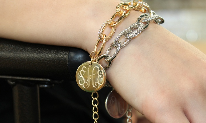 Allyanna Gifts: One, Two, or Three Monogrammed Pave-Link Bracelets from Allyanna Gifts (Up to 67% Off)