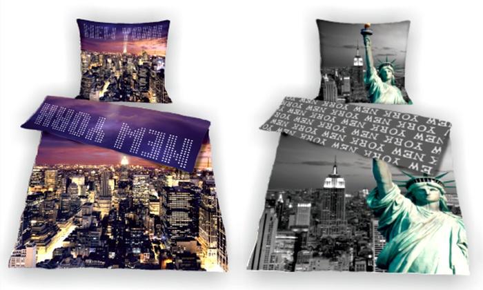 baumwoll bettw sche new york groupon. Black Bedroom Furniture Sets. Home Design Ideas