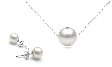 Genuine Pearl Pendant and Earrings in Sterling Silver