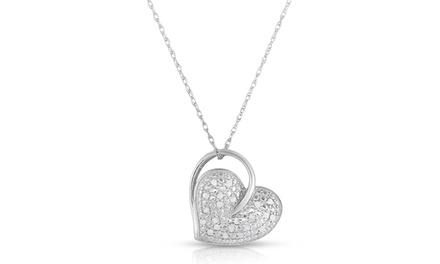 1/4 CTTW Diamond Heart Pendant in Sterling Silver