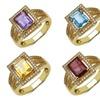 Emerald-Cut Genuine Gemstone Rings