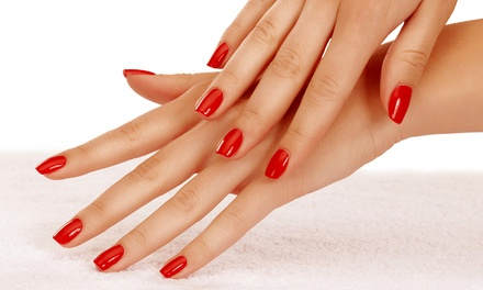 $59 for a Set of Solar Nails over Colored Gel and Shellac Pedicure at Nail Spa by Sarah ($120 Value)