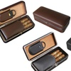 Leather Folding 3 Cigar Case with Cutter
