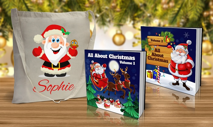 personalized christmas books and totes from dinkleboo