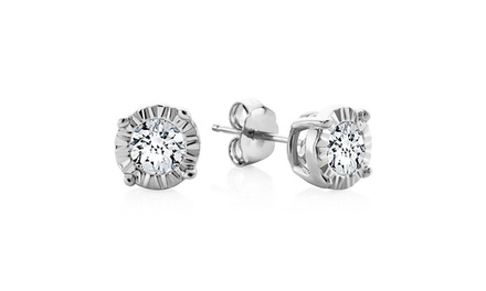 0.15 CTW Miracle Set Diamond Stud Earrings in Sterling Silver