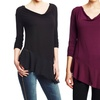 August Silk Drape-Neck Asymmetrical Top