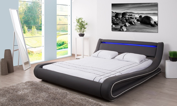 Lit led en pu simili groupon shopping - Lit et sommier 180x200 ...