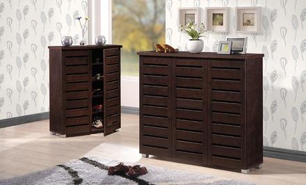 2- or 3-Door Dark-Brown Shoe Cabinet