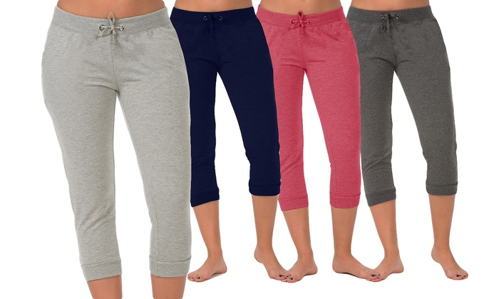 2-Pack of Coco Limon Women's Jogger Capris with Drawstring   Groupon