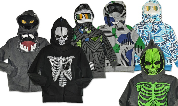 Boys' Face Mask Zip Up Hoodie | Groupon Goods