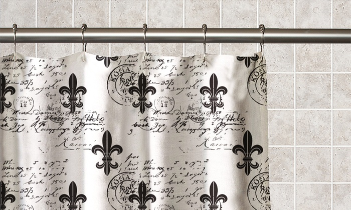 ... Fleur De Lis Printed PEVA Shower Curtain ...